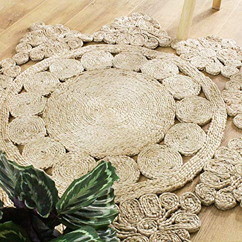 Round Jute Area Rug Woven Golden Butterfly (4' Feet, Natural)
