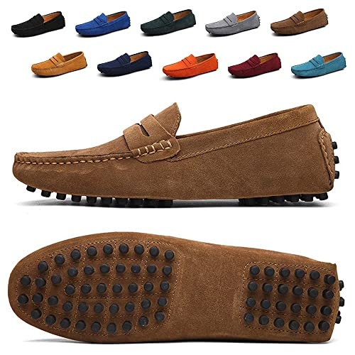 Ezkrwxn Mens Loafers Suede Leather Slip on Driving Shoes Moccasins Flat Dress Shoes