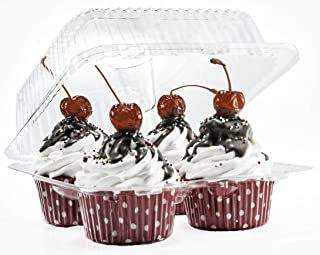 4 Compartment Cupcake Boxes | Clear Plastic Cupcake Container - Disposable Cupcake Holders | Muffin Carrier - Cupcake Clamshell Trays | Cup Cake Packaging Transporter | 10 Pack