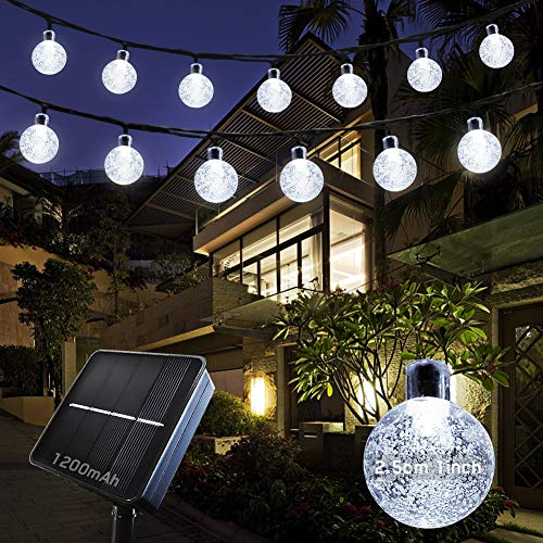 Solar String Lights Outdoor Garden Lights, 9M/30FT 50 LED, Solar Powered, Waterproof Crystal Ball, 8Modes, BYSMAH for Tree Garden Patio Yard Parties Home Wedding Indoor Outdoor(Cool White)
