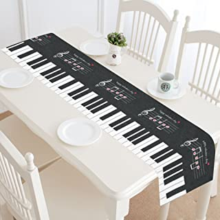 InterestPrint Music Note Love Heart Polyester Table Runner Placemat 14 x 72 inch, Piano Black and White Tablecloth for Office Kitchen Dining Wedding Party Home Decor