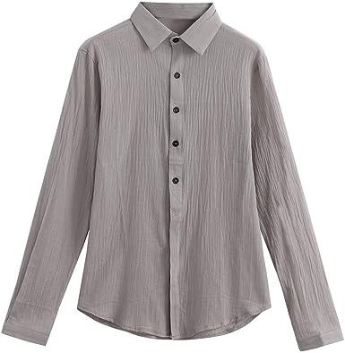 Overdose Camisas Hombre Lino Manga Larga de Vestir Camisas ...