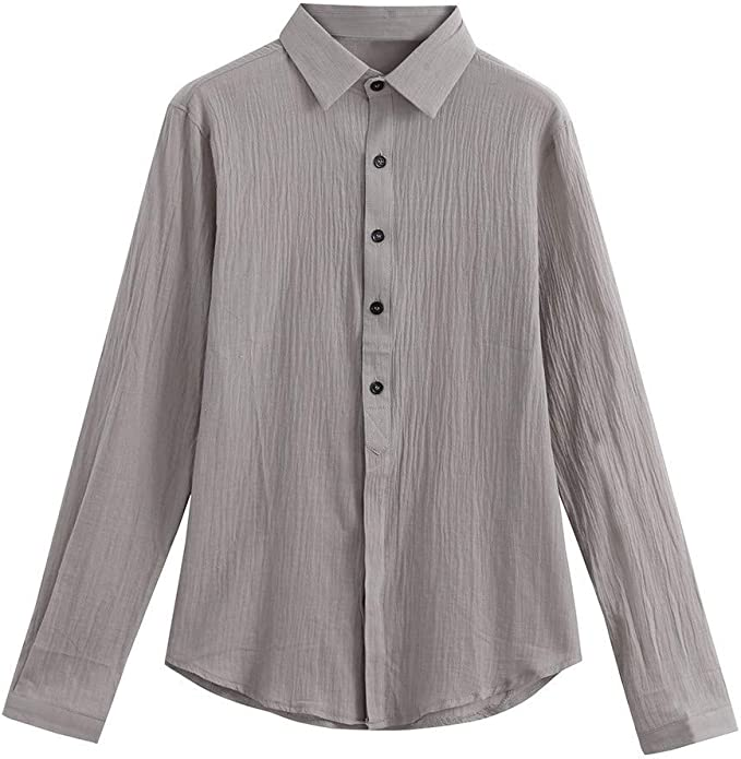 Overdose Camisas Hombre Lino Manga Larga de Vestir ...