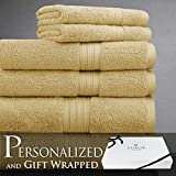 Luxor Linens Spring Bliss Collection 6 Piece Bath Towel Set Super Soft & Luxurious 100% Egyptian Cotton - Available in Various Colors & Embroidery Styles