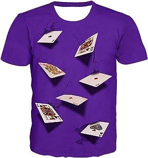 Unisex poker shirt Fun 3D printed graphics casino T-shirt shirt, loose short-sleeved top,Creative Men's and Women's Short-...