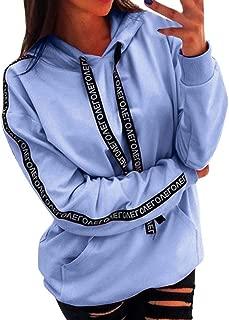 Women Hoodies and Sweatshirts Women's Plus Size Letter Print Solid Sweatshirt Hooded Pullover Tops