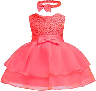 Toddler Baby Girls Embroidered Christing Pageant Birthday Party Baptismal Dress with Headband