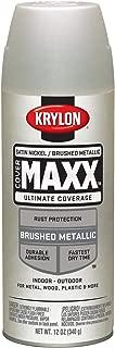 Krylon K09195000 COVERMAXX Spray Paint, Brushed Metallic Satin Nickel, 11 Ounce
