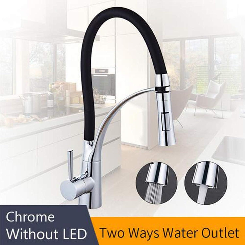 LED Küchenarmaturen mit Gummi Design Chrome Mixer Wasserhahn für Küche Einhand Pull Down Deck Kran für Waschbecken,Chromewhithoutlight