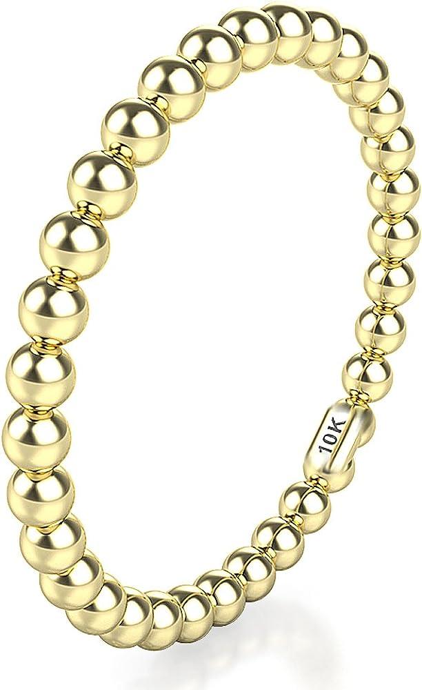 10K White/Yellow/Rose Gold 2MM Eternity Bead Wedding Band Ring