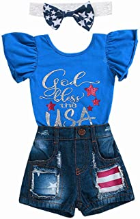 Moonker Flag Day Baby Romper 4th of July Clothes,Toddler Girls Kids Straps Backless Stripe Overall Jumpsuit 1-5 Years Old