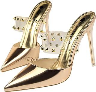 GLJJQMY High Heels Fashion Shallow Mouth Hollow Transparent Metal Rivets Women's Shoes 10.5 cm Women's Sandals (Color : Champagne, Size : 36)