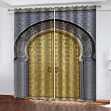 YTHSFQ Cortinas Opacas de Salón Dormitorio Estilo árabe 3D Cortinas Termicas Aislantes con Anillas para Salon Moderno Dormitorio súper Suaves 2 Piezas con Ojales 2 x A110 x L215 cm