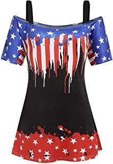 Women Tops Summer American Printing Shirt Short Sleeve Casual Tops Hollow Out Strapless Blouse
