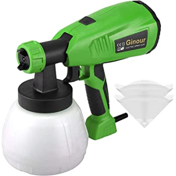 Paint Sprayer, Ginour HVLP Electric Spray Gun with 1300ml Detachable Container, 3 Spray Patterns, 4 Copper Nozzles, 4 PCS Filter Paper, 800ml/min, Flow Control and Perfect for Spraying Work
