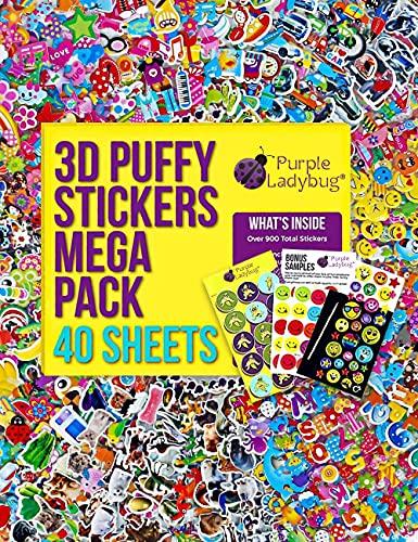 Adesivi 3D per Bambini di Purple Ladybug Confezione da 40 Fogli Differenti e più di 950 Stickers - Animali, Lettere, Numeri, Macchine, Fiori! Campione di Prodotti Incluso