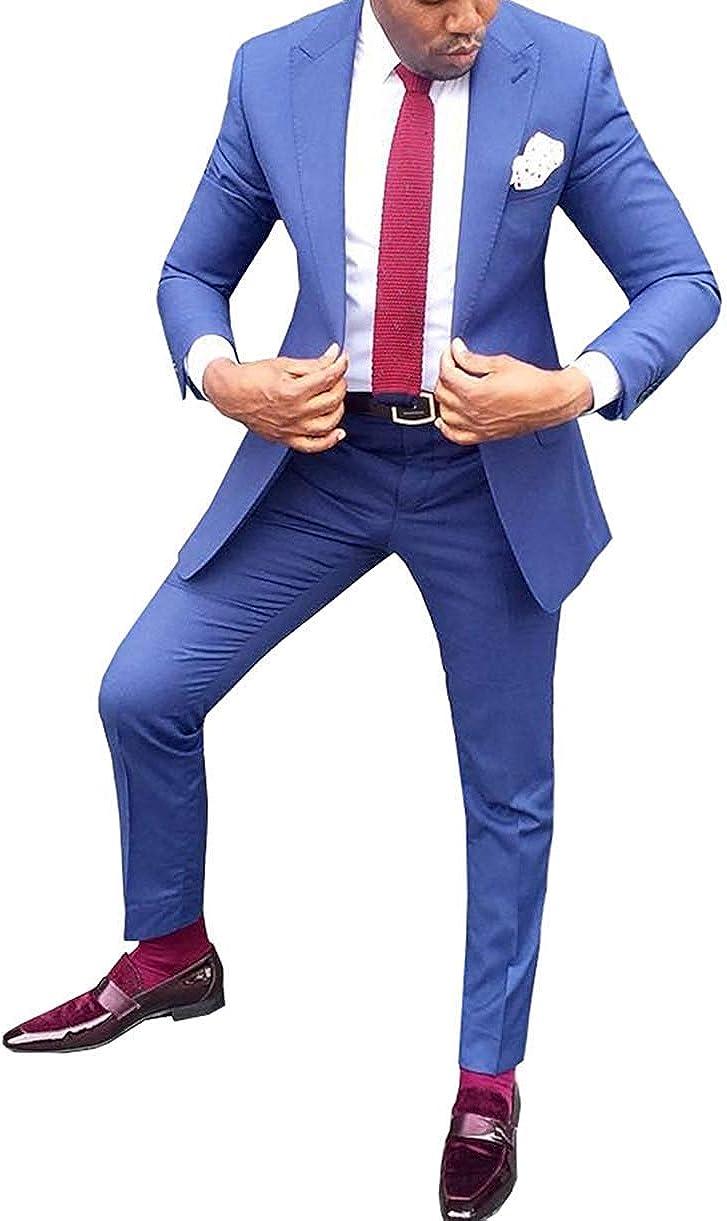 YZHEN Men's Suit Two Pieces Set Jacket Pant Party Tuxedo