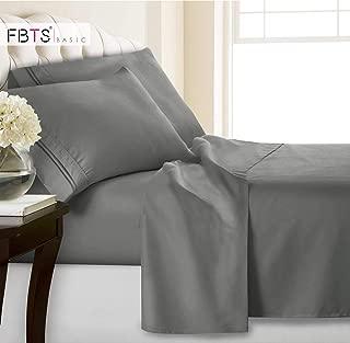 FBTS Basic King Bed Sheets(Fitted Flat 4 Piece Sheet Set, 1800 Hotel Luxury Soft Hypoallergenic Microfiber, Adjustable 15-18 inch Deep Pocket Mattress Modern Bedding Cover for Women Men, Grey