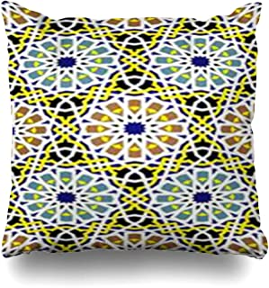 Homeyard Throw Pillow Cover Graphic Arab Moroccan Mosaic in Geometric Geometry Pattern Morocco Abstract Alhambra Antique Arabic Home Decor Sofa Cushion Square Size 20 x 20 Inches Zippered Pillowcase