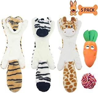 tanke Pet Dog Squeak Toys - 5 Pack No Stuffing Squeaky Plush Dog Toy Set Cute Animals Puppy Toys for Teething, Tiger Zebra Deer Carrot Dog Toys for Small and Medium Dogs Pets