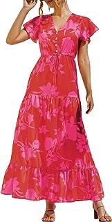 Domary Vestido feminino com babado estampado floral gravata cintura império vestido decote em V manga curta vestido longo ...