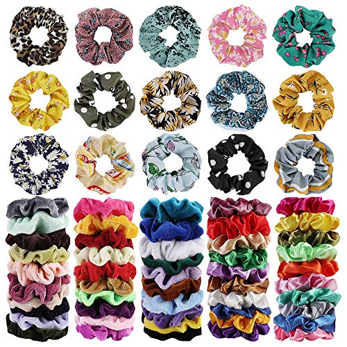Price comparison product image 65Pcs Hair Scrunchies Velvet, Chiffon and Satin Elastic Hair Bands Scrunchie Bobbles Soft Hair Ties Ropes Ponytail Holder Hair Accessories, Great Gift for halloween Thanksgiving day and Christmas