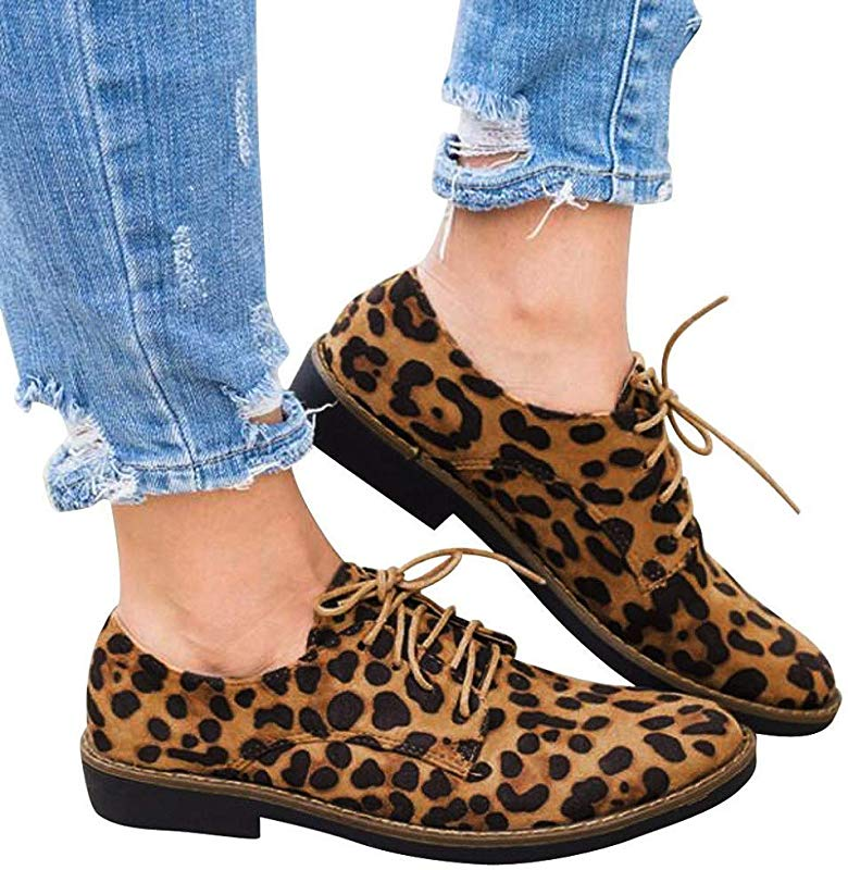 Women Lace Up Shoes Leopard Print Ankle Booties Round Toe Oxfords Flats By Lowprofile