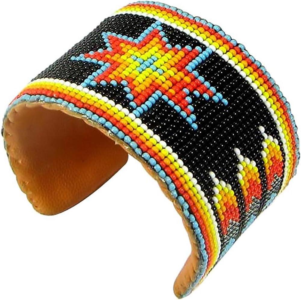 Southwestern Native Style Seed Beads Beaded Hard Cuff Bracelet