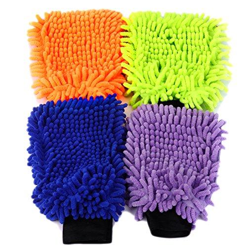 4 Set Wasserdicht Mikrofaser Waschhandschuh Autowaschhandschuh Reinigungshandschuh Reinigungstuch Reinigung Autopflege Polierhandschuh Pflege Handschuh Autowaesche Auto Motorrad 21 x 16 cm 4 Farben