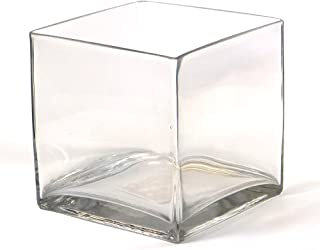 Vasefill 4-Pack Clear Square Glass Vase - Cube 6 Inch 6
