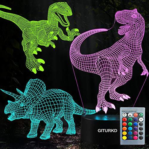 Lámpara de noche con dinosaurio 3D, ilusión LED 3D, tres patrones y 16 colores cambiantes, lámpara de decoración con mando a distancia para niños, regalos de dinosaurio para niños