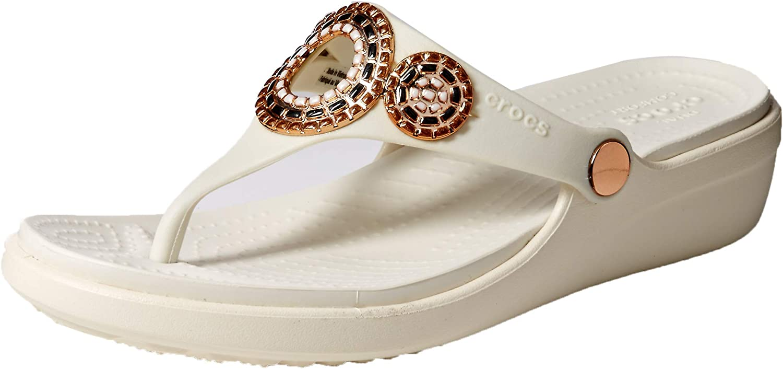 Crocs Womens Sanrah Diamante Wedge Flip Flip-Flop