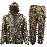 MOPHOTO Ghillie Suit 3D Leafy Camo Hunting Suits, Woodland Gilly Suits Hooded Gillies Suits for Men Youth, Leaf Camouflage Hunting Suits for Jungle Hunting, Shooting, Airsoft, Hallowee Costume XL