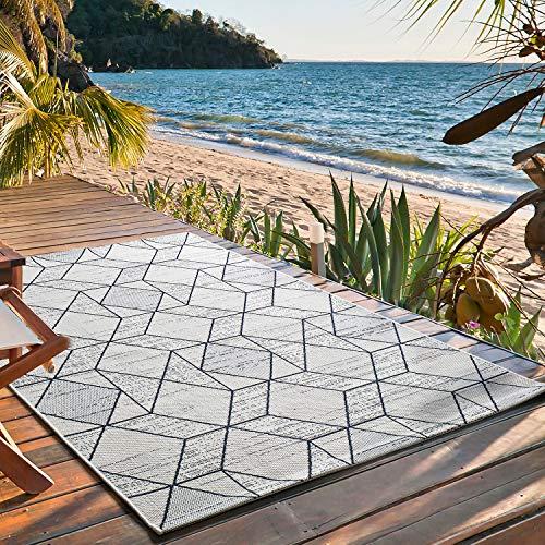 UNIVERSAL Alfombra Indoor-Outdoor Elba Rombos Blanco, 100% Polipropileno, 80 x 150 cm