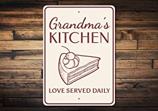 "8"" x 12"" Tin Sign, Metal Sign, Grandma's Kitchen Sign Pie Sign Grandma Baking Sign Love Served Daily Sign Kitchen Phrase Sign Kitchen Saying Quality Metal"