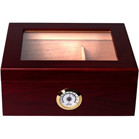 Mantello Royal Glass-Top Cigar Humidor - Humidifier Storage Box for 25-50 Cigars - Hygrometer, Gold-Plated Hinges & Handcrafted Rosewood Finish - Cedar Wood Case for Moisture Control - Gift for Men