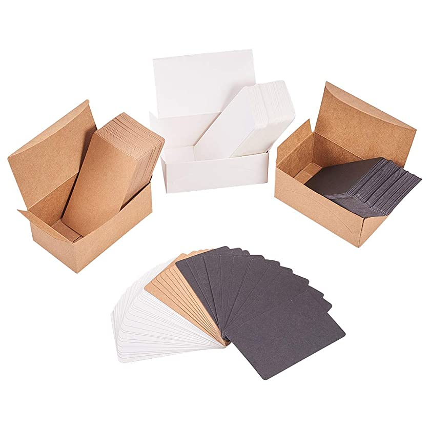 NBEADS 600PCS Blank Kraft Paper Cards DIY Gift Cards Message Cards Business Cards Word Card(White, Brown and Black)