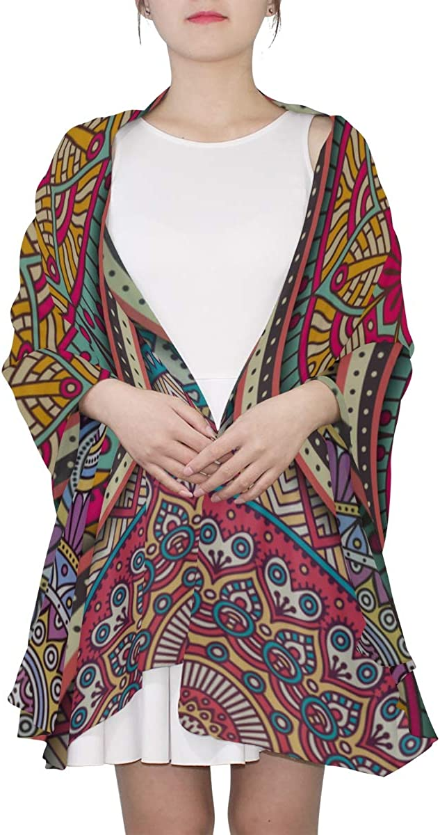 Fashion Scarf Lightweight Vintage Pattern Indian Batik Style Lightweight Scarf For Women Wrap Women Shawl Lightweight Print Scarves Womens Wrap Shawl Lightweight Oversized Scarf