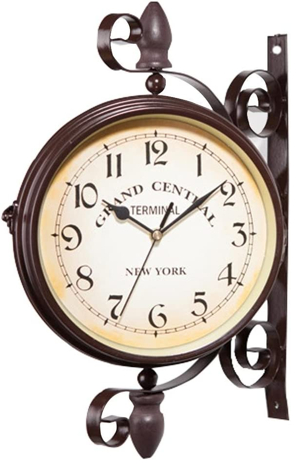 isilky 10in Vintage [宅送] Double Sided 好評受付中 Wall Iron Qu Metal Silent Clock