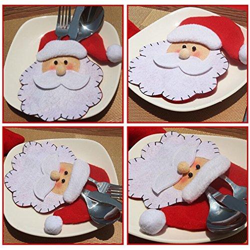 HENGSONG 1 Stück Weihnachten Tischdeko Weihnachtsmann Bestecktasche Besteckbeutel Besteckhalter für Weihnachten Deko