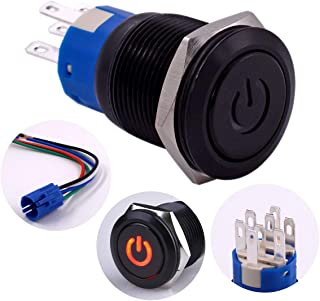 Latching Push Button Switch, URTONE UR197, 2NO2NC DPDT Black Metal Shell with 24V Power Symbol Red LED for 19mm 3/4
