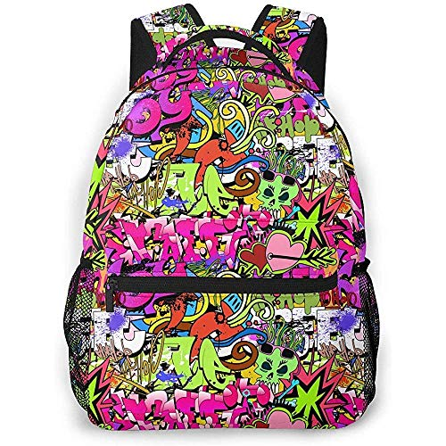 hengshiqi Mochila Backpack, Shoulder Bag,Graffiti Art Hip-Hop Style Texture Pattern Lightweight Travel Backpack Casual School Bag for Women and Teens Gift