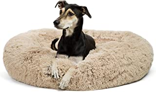 "Best Friends by Sheri Calming Shag Vegan Fur Donut Cuddler (36x36, Zippered"") – Large Round Donut Cat and Dog Cushion Bed,..."