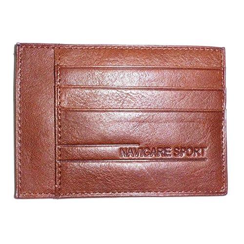 Portadocumenti e Carte di Credito Navigare in vera pelle vacchetta concia al vegetale colore MORO - Idea Regalo!