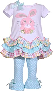 Girls Aqua Bunny Easter Tunic and Legging Outfit