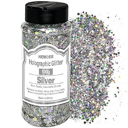 HEMOER Paillettes Olografiche Glitter Grosso, Argento 100g Olografiche Chunky Paillettes Glitter Unghie per Viso, Corpo, Occhi, Capelli, Unghie, Glitter per Hobby Creativi