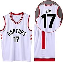 CURVEASSIST Conjunto De Camisetas De Baloncesto Toronto Raptors # 17 Lin Men Retroceso TranspirableBaloncesto Verano Corto Secado Rápido Ropa Deportiva Blanco,White-3XL
