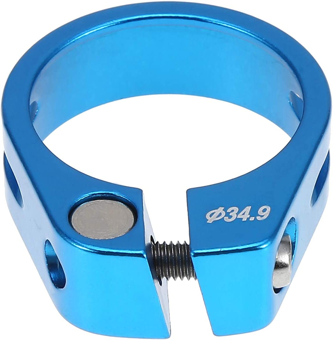 Rehomy 34.9mm Aluminum Alloy Bicycle Seat Post Clamp Mountain Bike Seatpost Accessory Blue
