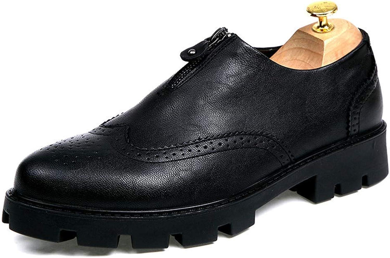 2018 Herren Herren Herren Business Casual Fashion Klassiker Oxford Höhe zunehmende Einlegesohle Rust Zipper Outsole Brogue Schuhe (Lackleder optional) (Farbe   Schwarz, Größe   43 EU)  a62d45