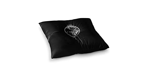 23 x 23 Square Floor Pillow Kess InHouse BarmalisiRTB Melting Earth Black White Digital